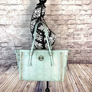 Bebe Sea Green Tote Bag With Gold Accents